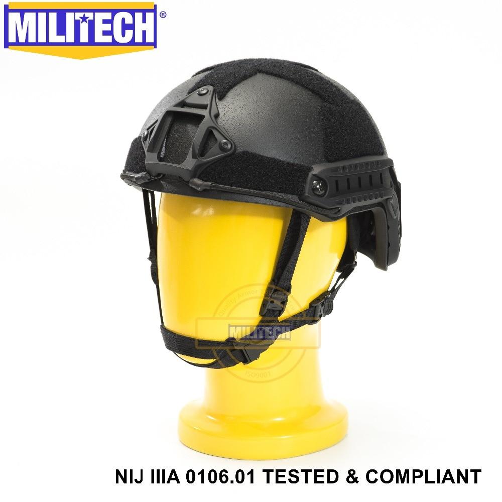 ISO Certified MILITECH BK NIJ Level IIIA 3A FAST OCC Liner High XP Cut Bulletproof Aramid Ballistic Helmet With 5 Years Warranty