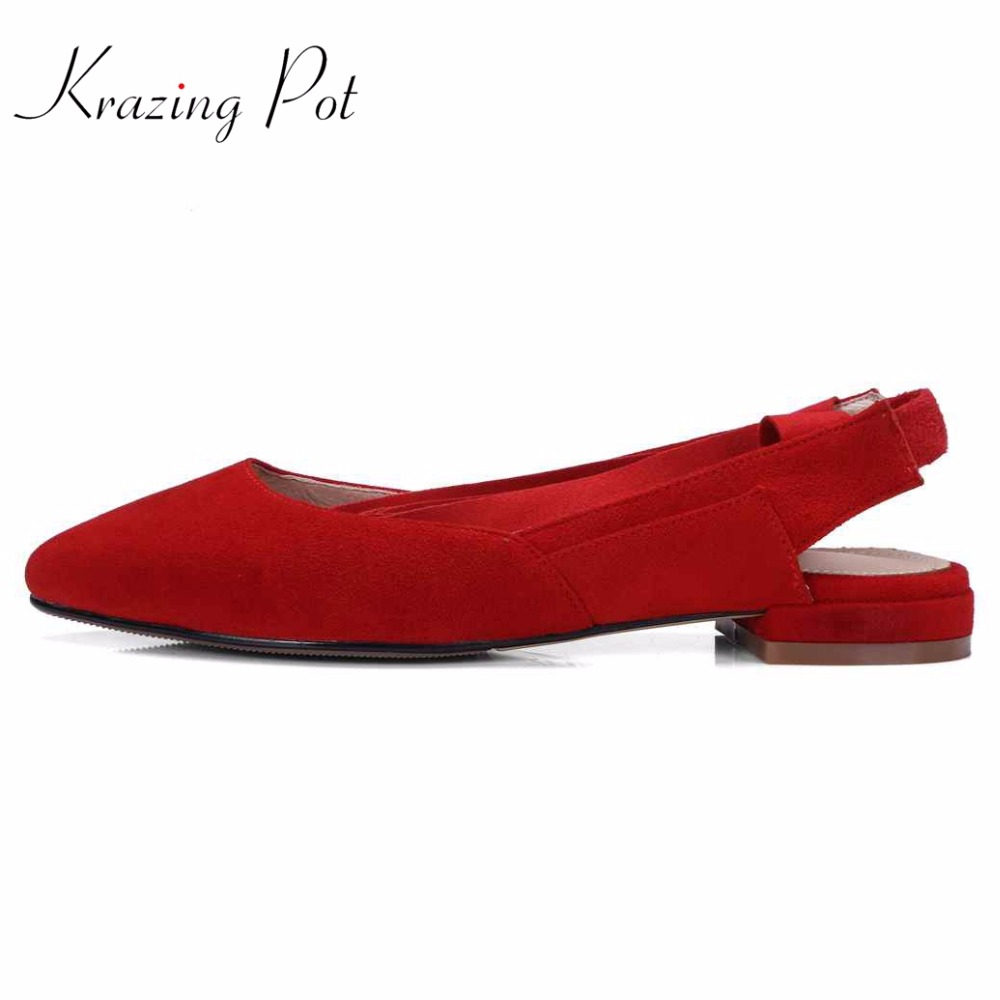 Krazing pot fashion sheep suede preppy style young lady thick low heels bowtie shallow pumps pointed toe women brand shoes L40 krazing pot sheep suede rabbit fur superstar preppy style bowtie casual shoes pointed toe flats sweet women outside slippers l71