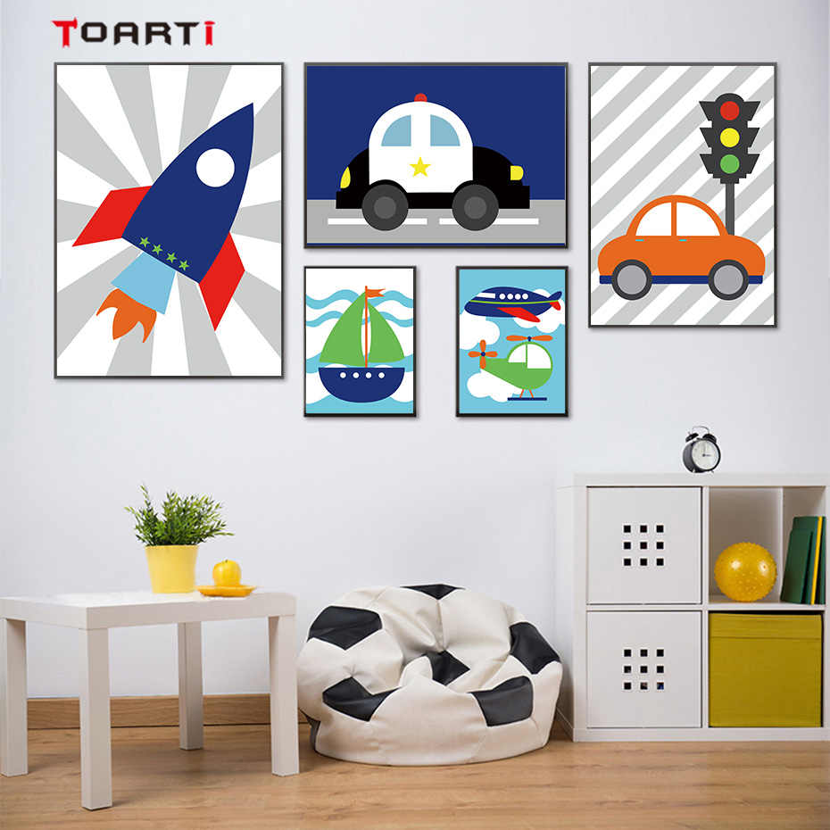 Cute Cartoon Vehicle Theme Wall Art Canvas Painting Colorful Vintage Posters&Prints Kids Room Nursery Home Decor Modern Pictures