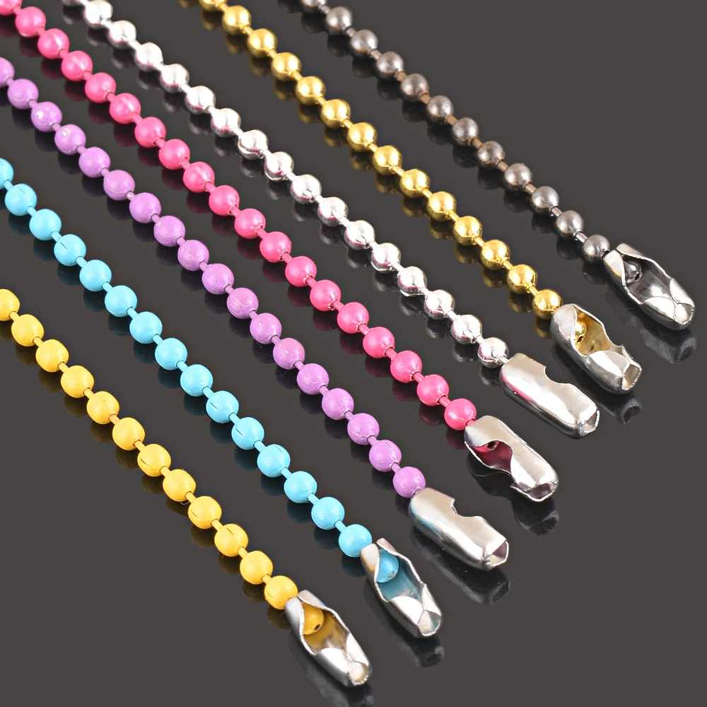 Quality beaded ball chain tiny gold and silver plated jewelry making dog tags chains ,customized length is available,2.2mm