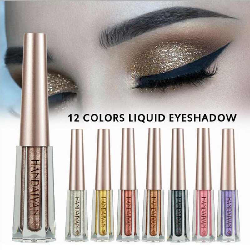 HANDAIYAN metalowe do makijażu oczu diament brokatowy błyszczący cień do powiek płynny cień do powiek wodoodporny połysk kolorowe oko cienie do powiek ciecz