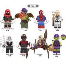 Single Marvel Movie Spiderman Miles Green Goblin Ultimate Kingpin Noir Gwen scorpion building blocks toys for children(China)