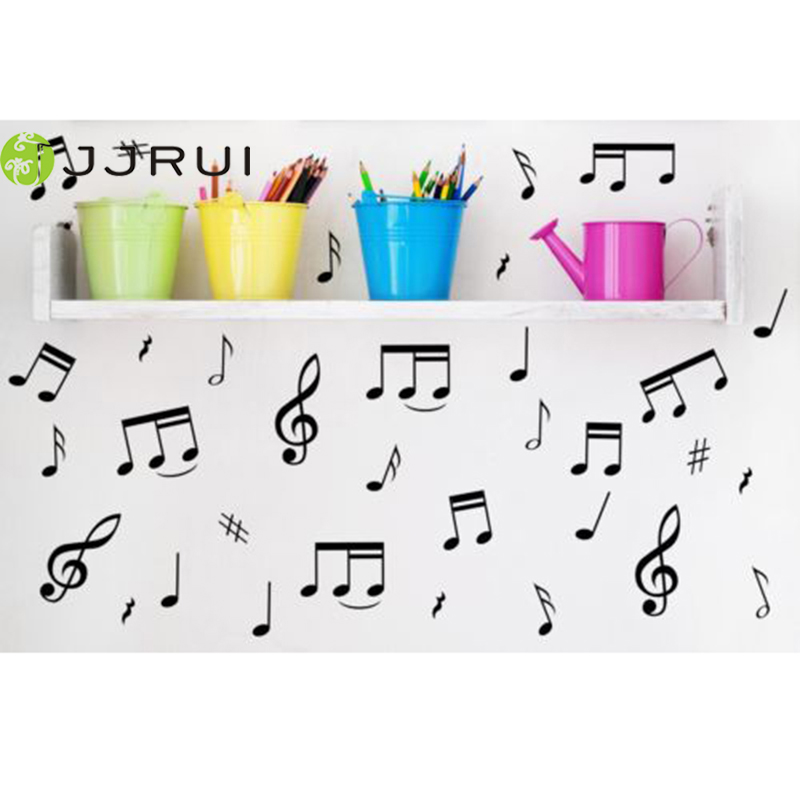 یادداشت های برچسب JJRUI 32 Music DIY Decal Decoration - Car / Laptop / Fridge Vinyl Wall Stickers Wall Decor (انتخاب 21 رنگ)