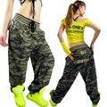 Grande Bolso Camuflagem Calças Casuais Femininas Soltas Calças Hiphop Calças Moda Jazz Dancer
