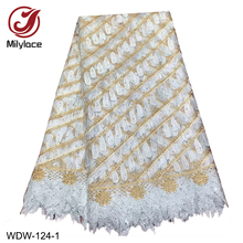 Embroidery Tulle Lace Fabric with Rhinestones Wholesale African French Tissue for Party WDW-124