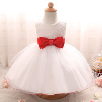 2017 Baby Girls Dress Big Bowknot Infant Party Dress For Toddler Girl First Brithday Baptism Clothes