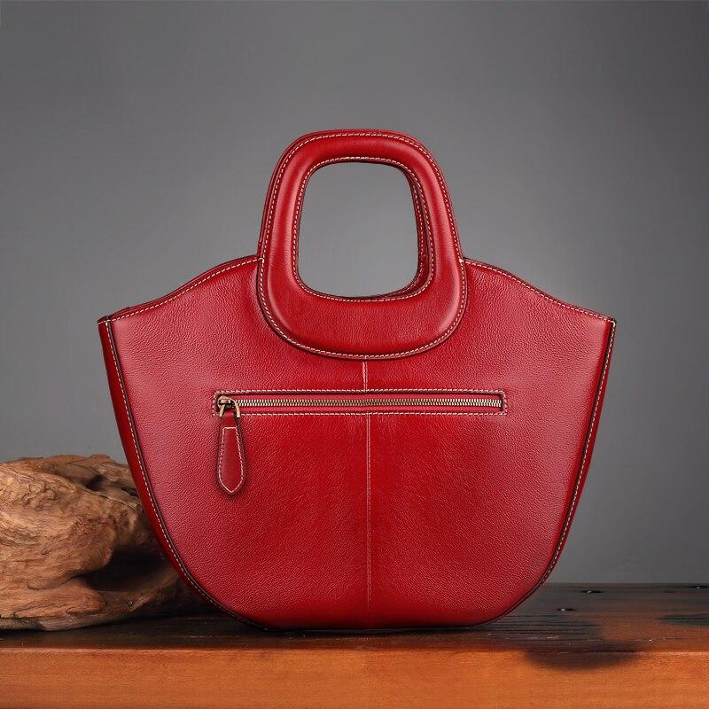 Womens Black Handbag 2018 Handmade Genuine Leather Lady Top-handle Shoulder Bag Printing Single Shopulder Strap Messenger Bags