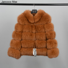 Jancoco Max 2019 New Winter Thick Warm Women Real Fox Fur Stand-collar Coat Top Quality Jacket Fashion Overcoat S7194