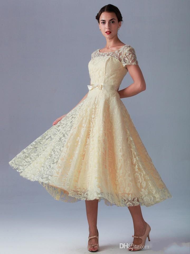 Vintage Empire Tea Length Dresses