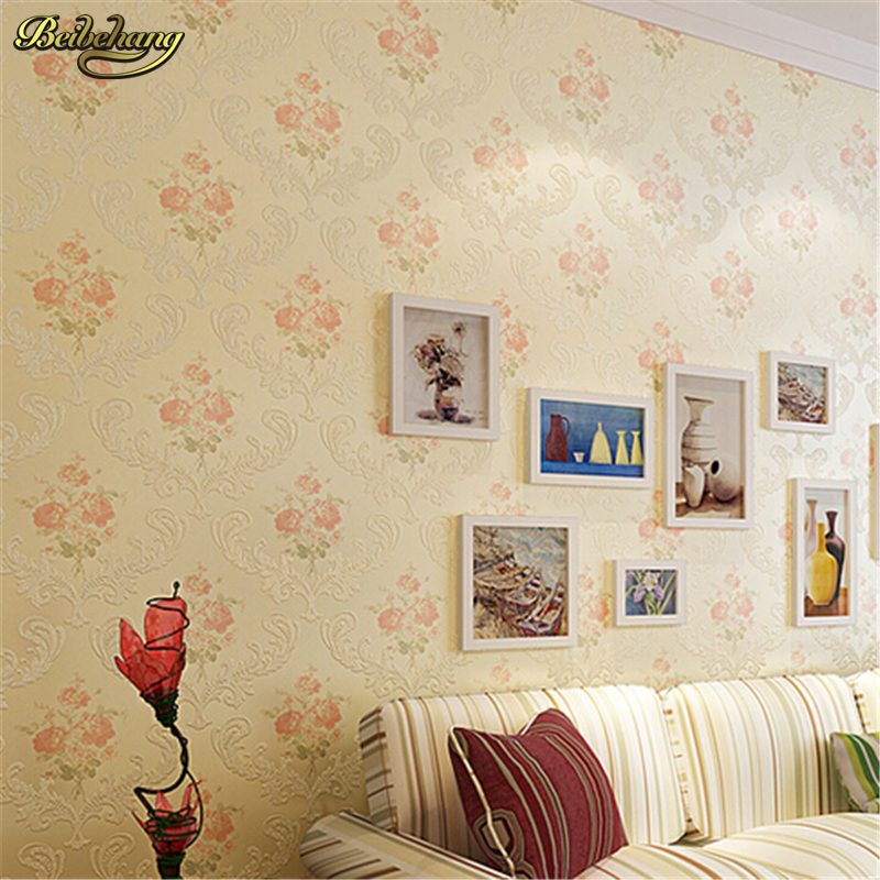 beibehang wallpaper Non-woven American rural bedroom living room wall paper warm continental background wallpaper roses wedding beibehang american rural non woven wallpaper bedroom living room tv emerald green background wallpaper retro cottage leaves