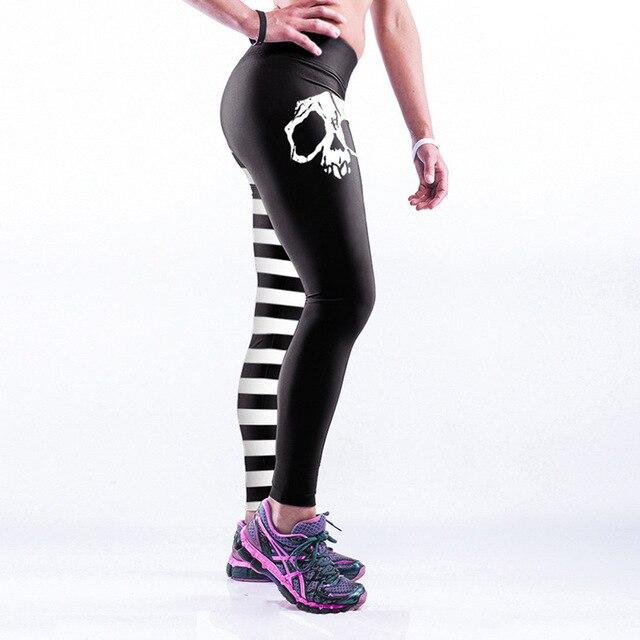 b6b22793d879be Frauen Black & White Striped und Schädel Leggings Fitness Workout  Cheerleader Hosen Hiphop Party Elastische Faser