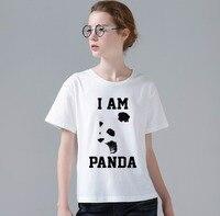 New Retro Mulheres T-shirt Top Tee T-shirt PANDA Impressão Engraçado Dos Desenhos Animados Eu SOU Jovem Mulheres Tshirt Atacado W823