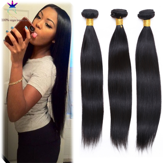 Malaysian Virgin Hair Straight Human Hair Extension Natural Black