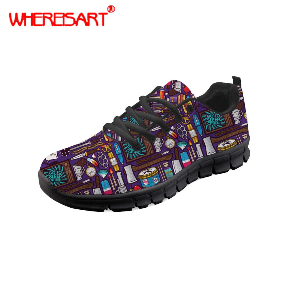 WHEREISART Stylish Sneakers for Women Go to Sleep Pattern Flat Shoes Ladies Lace-up Mesh Shoes Feminine Spring Autumn Flats