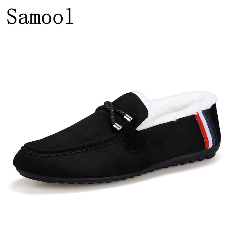 Casual Shoes Winter Keep Warm With Fur Men Loafers 2017 Slip On Fashion Driver's Loafer Suede Leather Moccasins Men Shoes 2017 new lightweight breathable suede mens casual shoes adult keep warm with fur