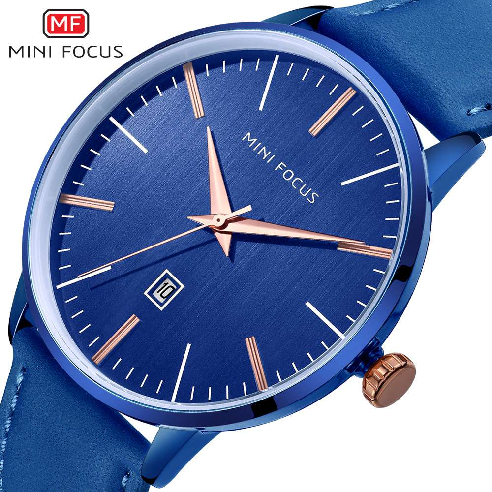 MINI FOCUS 2018 Mens Business Quartz Watch Men Top Brand Luxury Analog Clock Male Blue Leather Sports Watches relogio masculino