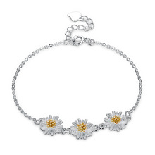 Fashion jewelry, sterling 925 small and fresh Daisys hand chain,  flower bracelet, female