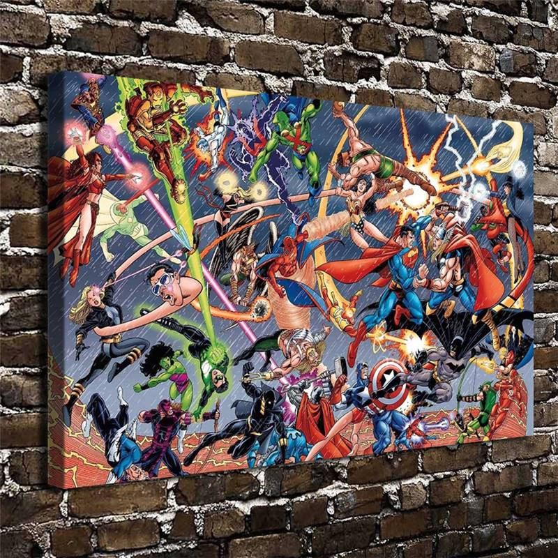 Marvel Vs Dc Superman Comics Cartoon Abbildung. Hd Leinwand Home Decoration Wohnzimmer...