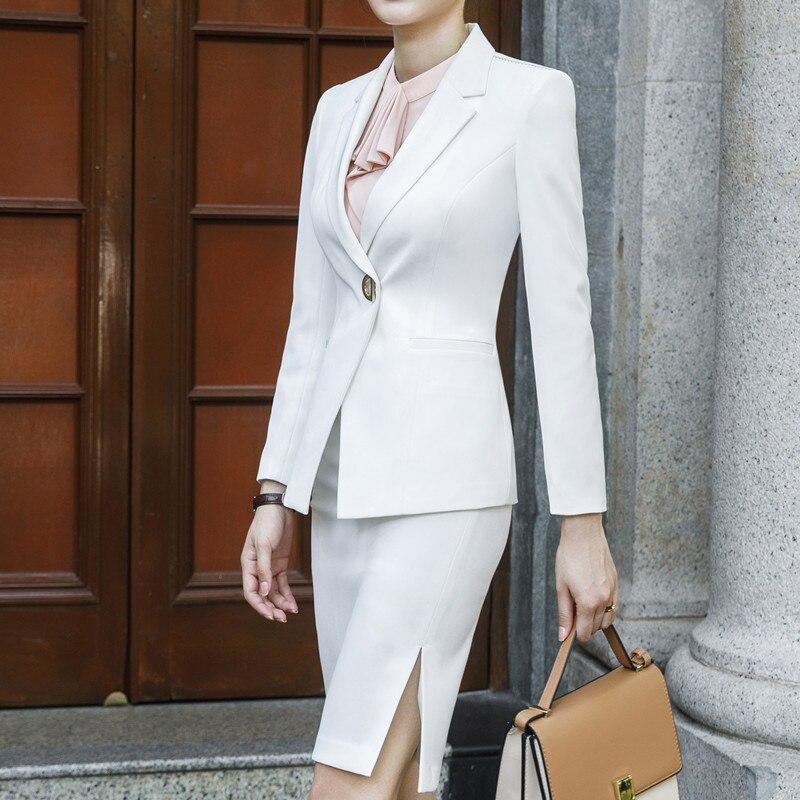 Moda negro blanco pantalones trajes mujeres 2019 nuevo formal negocios manga larga slim blazer y pantalones Oficina señoras ropa de trabajo-in Trajes de pantalón from Ropa de mujer    2