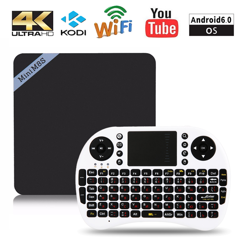 Mini M8SII Android 6.0 TV BOX Amlogic S905X Quad Core 1GB 2GB 8GB 16GB 100Mbps 1080P 4K WIFI BT Smart Set Top Box Media Player