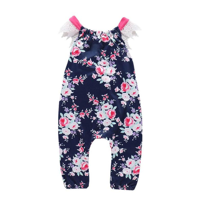 Summer Girls Rompers Infant Baby Romper Floral Printed Toddlers Children Clothes Patchwork Lace Kids Outfits Ethnic Jumpsuit