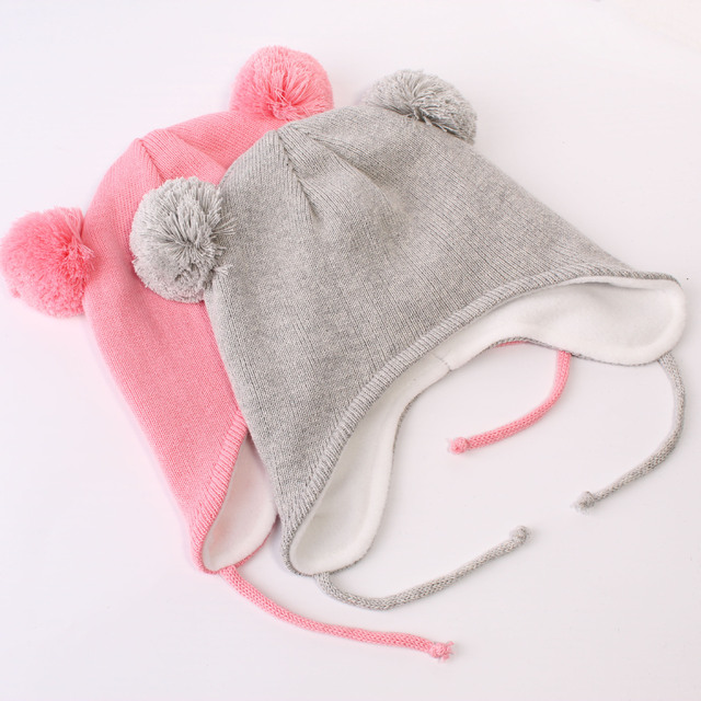 Warm Lined Baby Knit Hat for Toddler Girls Boys Earflap Beanie Newborn  Infant Winter Hat Warm dbb7d684d30