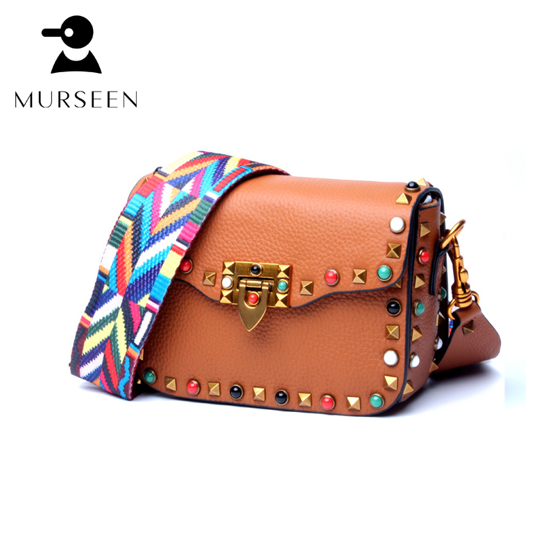 Women Genuine leather bags high quality brands Small rivet decorated ladies shoulder bag Fashion color strap clutch handbag new high quality pu leather women crossbody bags fashion color rivet design women shoulder bags color shoulder strap ladies bag
