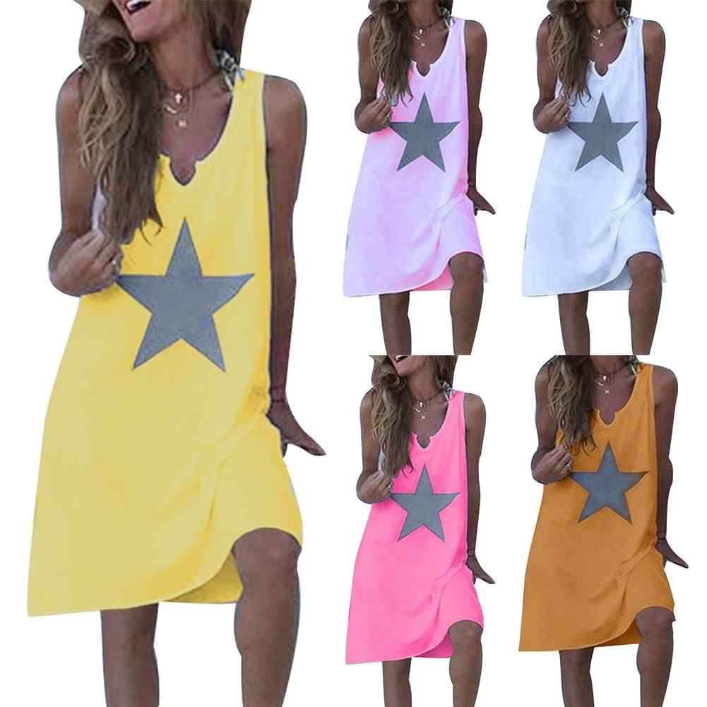 Summer Dress vestidos Casual Women Star Print Dress Loose V Neck Sleeveless maxi dress Sundress Midi dress women plus size dress