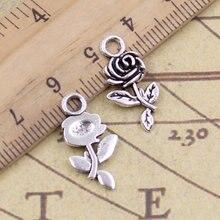 40 adet Charms çiçek gül 21x13mm tibet bronz gümüş renk kolye antik takı yapımı DIY el yapımı zanaat kolye için