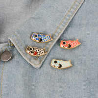 ¡Pescado japonés! Moda Kimono Lucky Cartoon Koi Fish esmalte Pin joyería Vintage Broche mujer hombre Unisex pareja joyería