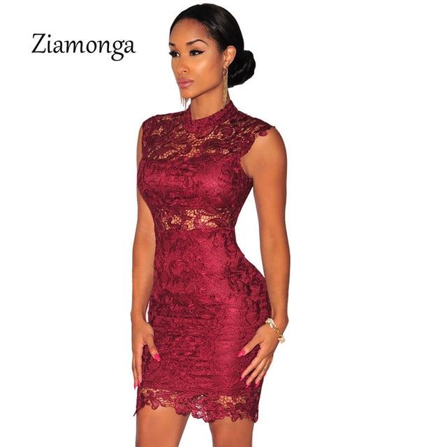 2019 Nova Moda Feminina Elegante Borgonha Vestido de Renda Preta Ver Através Do Vintage Bodycon Bandage Vestido Curto Vestido De