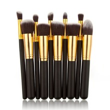 Brand Black Golden Synthetic Hair 10Pcs Makeup Brush Blending Kit Professional Make up Brushes Set Beauty Women Cosmetic Tools