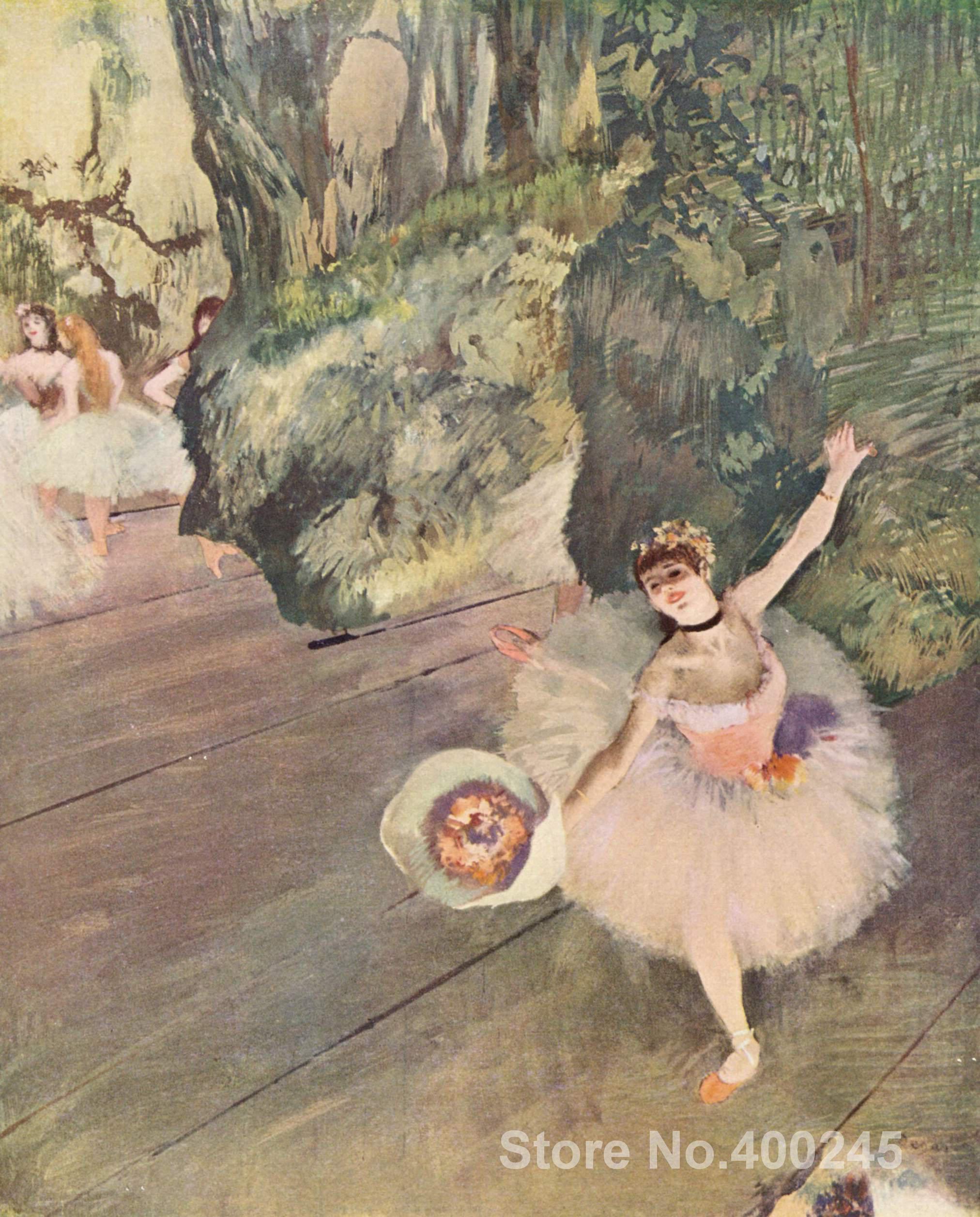 Art minyak Lukisan Penari dengan karangan bunga Bintang dari balet by edgar degas kualitas tinggi handmade