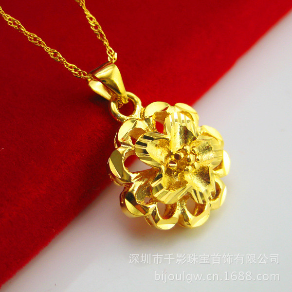 17 5 Mm Round Pendant 3 Grams Long 43cm Weighing Men Women Hollow Olives 24k Yellow Gold Plated Necklace Pendant Brwild