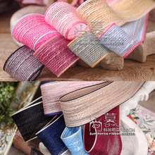 50yards 16/25/40mm stripes cotton flax korean ribbon for hair bow diy accessories bouquet gift packing craft supplies