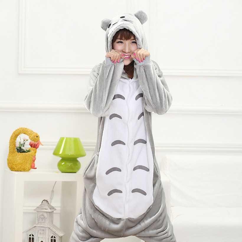 الحيوانات Kigurumi Totoro زي الكبار فتاة الاطفال نيسيي الفانيلا هالوين النساء أنيمي بذلة تمويه Onepiece دعوى