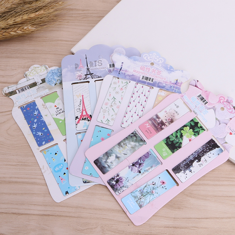 6 Pcs/lot Cute Kawaii Flower Paper Bookmarks Creative Noctilucent Magnetic Book Mark School Supplies