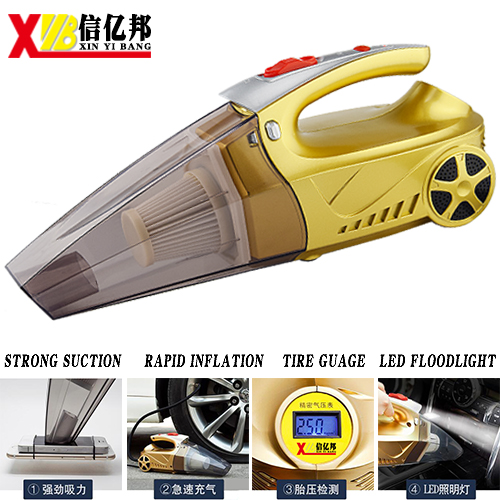 Portable 4 en 1 Multi-función de Doble Uso Coche aspiradora con la inflación de aire portátil de mano ligera presión digital preestablecido