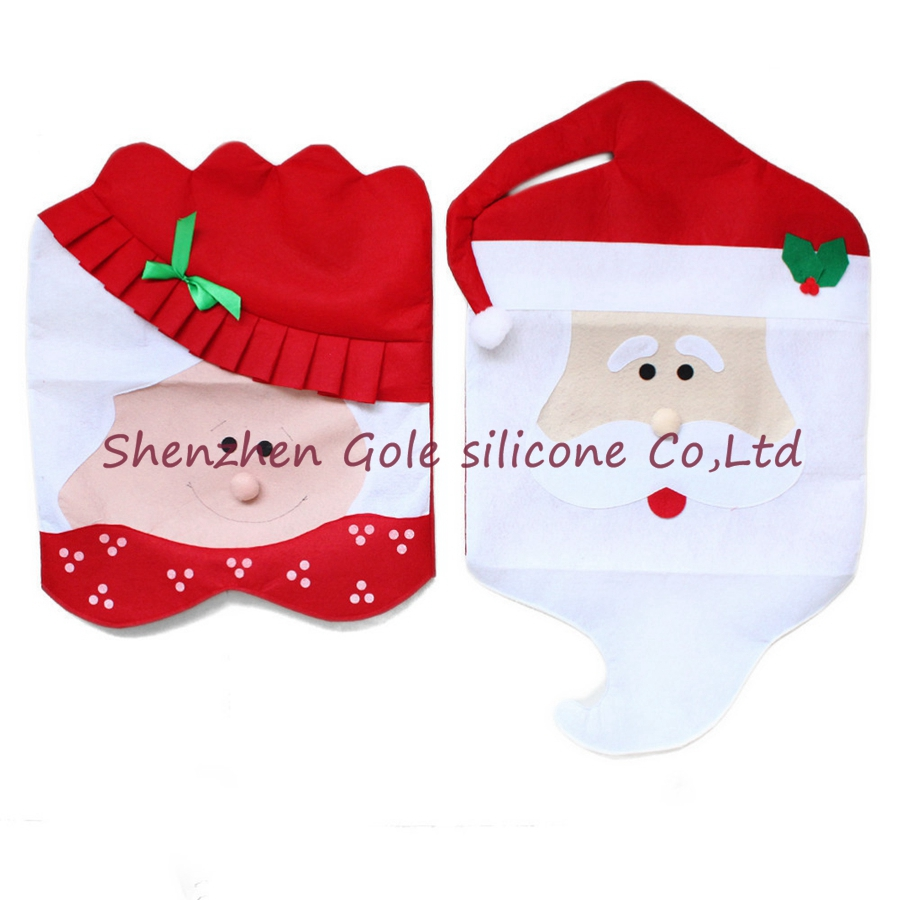 Mr and mrs claus ornaments - New Year Mr Mrs Santa Claus Natal Navidad Indoor Christmas Decorations For Home Ornament Kitchen Dinner Christmas Chair Covers