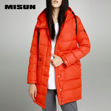 MISUN winter jacket women slim medium-long with a hood long-sleeve wide-waisted thickening long outerwear down coat & parkas