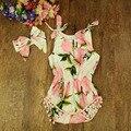 Mamelucos Del Bebé recién nacido Niñas Impreso Algodón Sin Mangas Del Mono Con La Venda 2017 Verano Infantil Roupas prendas de Vestir Traje