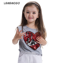 LEMEMOGO 3 8Y Fashion Style Sequins Girls T shirts font b 2018 b font Cotton Summer