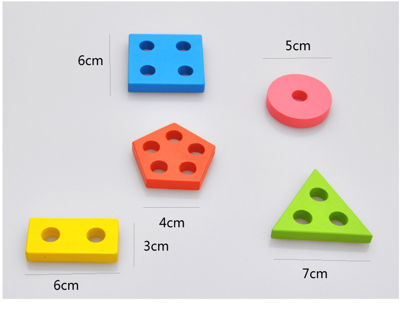 Montessori Toys Wooden Blocks Geometry Shape Model Building Kits Children Educational Toy Wood Building Blocks 8