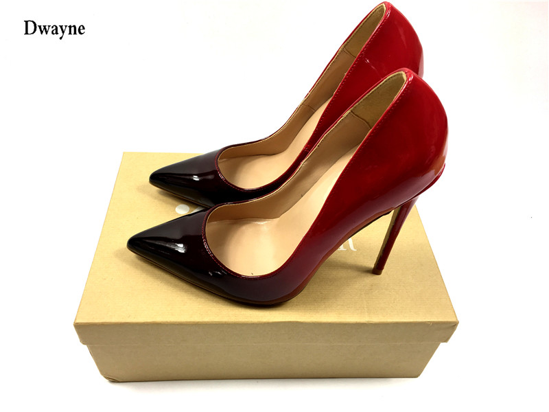 2017 brand Woman High Heels Wedding Shoes Black/Red Patent Leather Women Pumps Pointed Toe Sexy High Heels Shoes Stilettos size34 39 shoes woman red pumps high heels 9 cm party wedding shoes patent leather pointed toe sexy black nude womens shoes