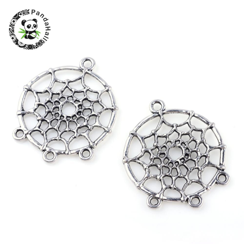 Tibetan Style Alloy Chandelier Components, Dreamcatcher, 1/3 Loop, Cadmium Free & Lead Free, Antique Silver, 34x28x2mm, Hole: