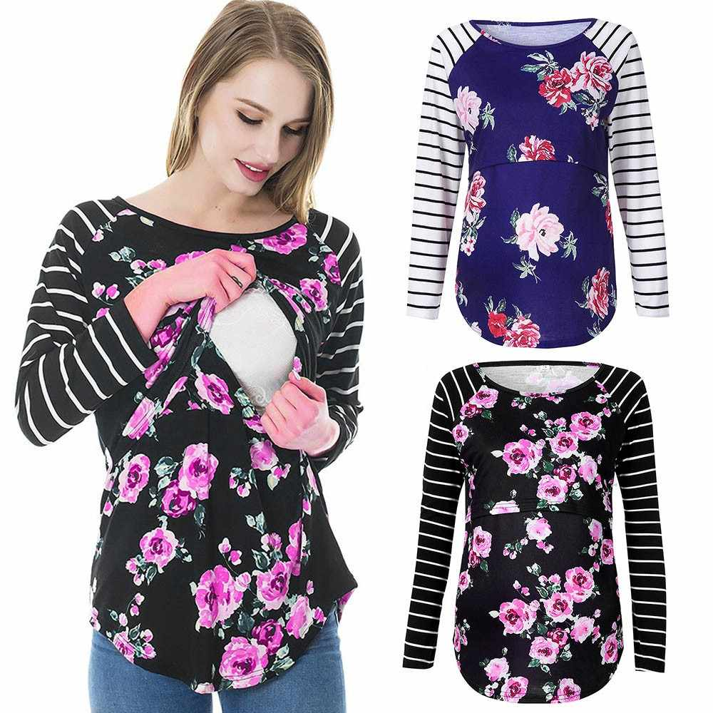 1658dc57c85 MUQGEW Women Mom Pregnant Nursing Baby Maternity Long Sleeved Striped Blouse  Clothes Floral print stripe blouse