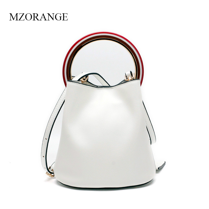 MZORANGE Brand Genuine Leather Women Handbags Simple Bucket Design Tote For Ladies Metal Ring Vintage Shoulder Crossbody Bags