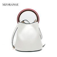 MZORANGE Brand Genuine Leather Women Handbags Simple Bucket Design Tote For Ladies Metal Ring Vintage Shoulder Crossbody Bags