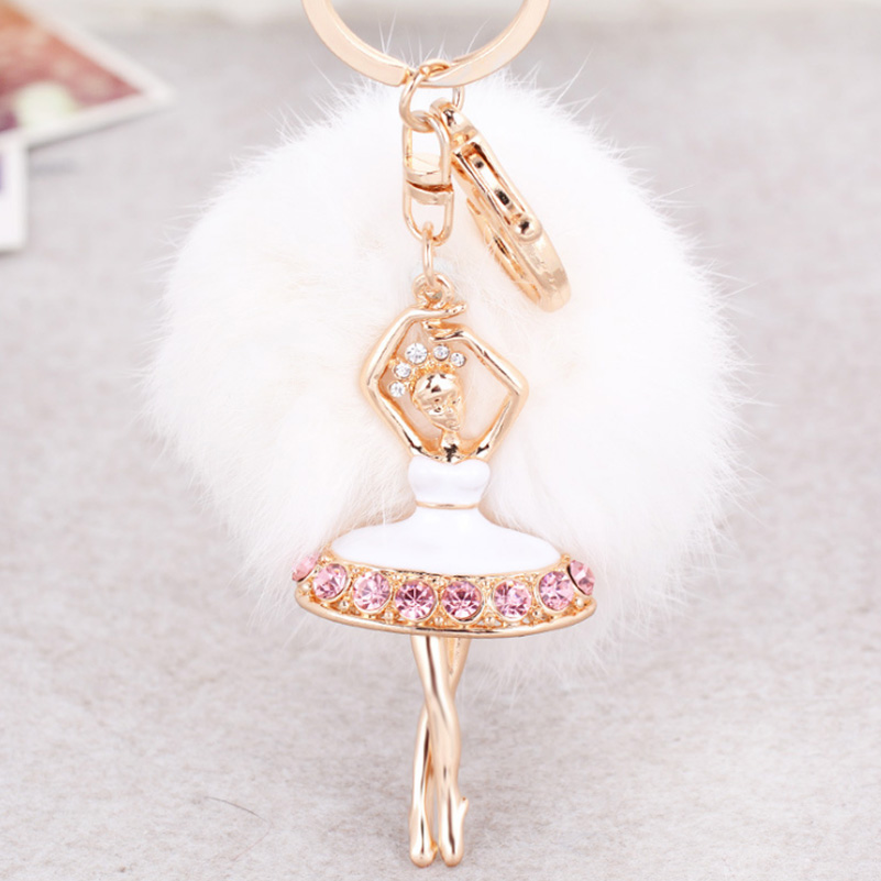 Hot Sale Ballerina Rabbit Pom Pom Fur Ball Keychain Crystal Ballet Dancing Girl Metal Ca ...