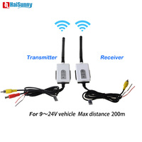 200M Range 2.4G Wireless Adapter Car Rear View Parking Camera Monitor Transmitter and Receiver Kit For 12V 24V Truck Bus Vehicle